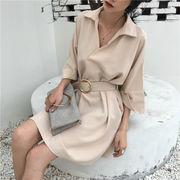 春夏季 韓国風 風 ウエスト 着やせ 単一色 襟 ヘッジ 五分袖 サイド ポケット ワン
