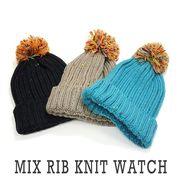 ニット帽 ミックス リブ ニット ワッチ ボンボン付き メンズ レディース  帽子 (キーズ) Keys