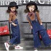 春 子供服 トップス+サロベット 女の子 セットアップ ワイドパンツ 110-160