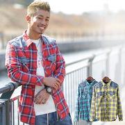 【2018SS新作】 メンズ ブリーチ加工デニム切替ウエスタンチェックシャツ