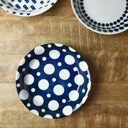 藍ブルー 22cmカレー&パスタ皿 ドット[美濃焼]