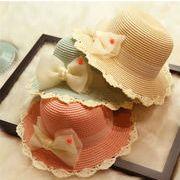 子供 UVカット 麦わらハット 紫外線対策 日焼け止め 帽 リボン レース ハット 可愛い 10色