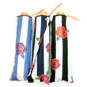 【晴雨兼用】【折りたたみ傘】UVカット99%ストライプローズ柄軽量丸ミニ折畳傘