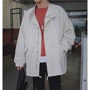 2018春夏新作メンズジャケット 薄いコート カジュアル シンプル♪オフホワイト/ブラック/グリーン3色
