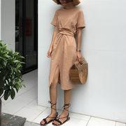 春夏季 新しいデザイン ファッション スプリット 裾 中長デザイン ワンピース シンプ
