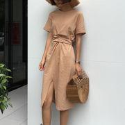 春夏 新しいデザイン 女性服 アンティーク調 ひもあり ウエスト 着やせ 気質 スプリッ