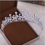 ハイエンド 豪華な ジルコン 王冠 花嫁 結婚式 宝石 髪 アクセサリー ウェディングドレス 王冠 付属品