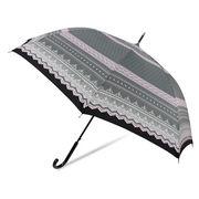 [60cm]耐風傘 婦人 傘 ジャンプ傘 レディース タティングレース柄
