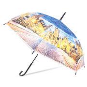 [58cm]可愛いビニール傘 ジャンプ式 雨上がりの街並柄