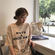 韓国風 夏 ルース レターズ 漫画の画像 プリント 半袖Tシャツ 女 丸襟 学生 ボトム