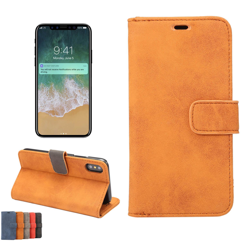 新作 iPhoneX 手帳型レザー調シンプルケース カード収納ポケットスタンド機能 PUレザー 5色/