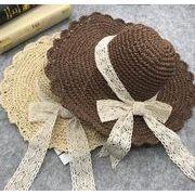 レディース麦わら帽子 5色 レースリボン 夏定番 ハット UV対策 つば広帽子 日よけ オシャレ