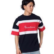 【2018春夏新作】20/-OE天竺 半袖 切替 BIG-Tシャツ(QUESTION)