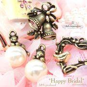 "▼SALE▼L&A Original Parts★パール&ねこちゃん★ベル&フラワー★金古美""happy bridal""72"