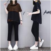 【大きいサイズXL-4XL】ファッション/上下セットトップス♪ブラウン/ブラック2色展開◆