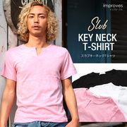 半袖スラブキーネックTシャツ