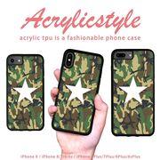 iPhone 7 8 X ケース 星 スター ヒーロー 迷彩 緑