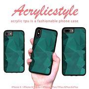 iPhone 7 8 X ケース 幾何学模様 宝石 緑色 グリーン