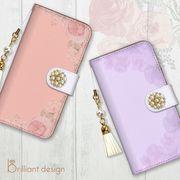 iPhone 7 8 X 手帳型 スマホケース パール タッセル ボタニカル 花柄 ブランド
