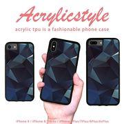 iPhone 7 8 X ケース 幾何学模様 宝石 青色 ブルー