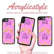 iPhone 7 8 X ケース 花柄 紫色 パープル 水彩風 北欧