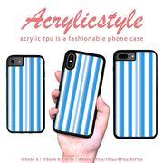 iPhone 7 8 X ケース ストライプ 寒色 水色 ブルー