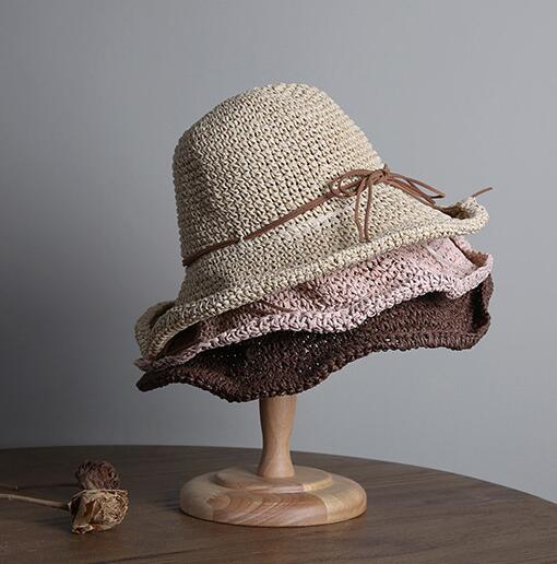 レディース麦わら帽子 折り畳め 夏定番 ハット UV対策 日よけ オシャレ 結び