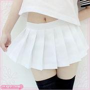 ■送料無料■超ミニ無地プリーツスカート単品 色:無地白 サイズ:M/BIG