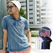 【2018SS新作】 メンズ USA FLAG刺繍 鹿の子ポロシャツ