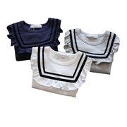 韓国風 春服 新しいデザイン 女子供服 赤ちゃん 海軍風 長袖Tシャツ フリル 襟回り