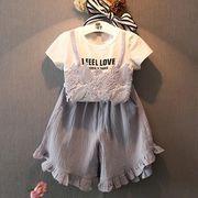 女児 セット 小中児童 赤ちゃん 丸襟 ステレオ レース シャツ + ルース フリル 裾