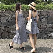 夏服 女性服 韓国風 アンティーク調 背 後 リボン グリッド 中長スタイル ワンピース
