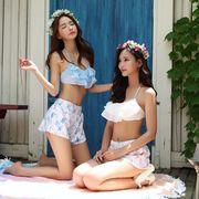 水着 レディース 体型カバー ビキニ フリル バンドゥビキニ 花柄 ショートパンツ パステルカラー 3点セット