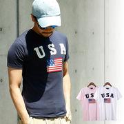 【2018SS新作】 メンズ サガラ刺繍 USA柄 Tシャツ