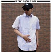 2018 春★ROCAWEAR★ロカウェア メンズ シャンブレイ ストライプ シャツ