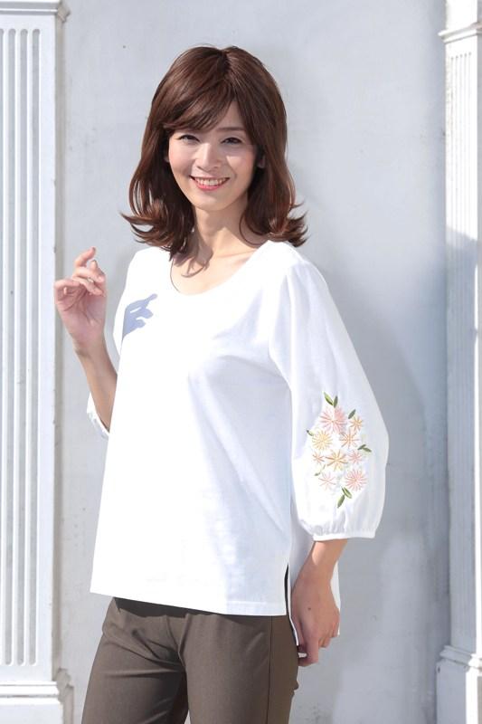 【即納】7分袖刺繍Tシャツ