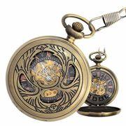 ポケットウォッチ 懐中時計 手巻き スケルトン 蓋付き シースルー  PWA005 メンズ懐中時計
