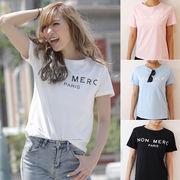 2018ss レディース tシャツ カットソー 英字 プリント 半袖