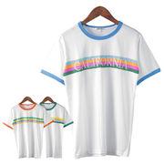 【2018SS新作】 メンズ レインボープリント刺繍 リンガーTシャツ