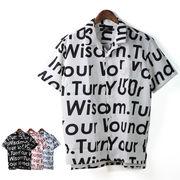 【2018SS新作】 メンズ ポリトロ 総柄メッセージプリント オープンカラー 半袖シャツ