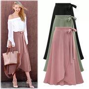 【シフォン素材】美シルエット可愛いラップスカート フレア 大きいサイズ 涼しい 美脚 3色/