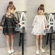 夏服 新しいデザイン 韓国風 キッズ洋服 何でも似合う 女児 シフォン ドット 中空 ワ