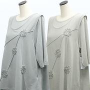 【初秋物】レディース シャツ コード刺繍チュニック&Tシャツ アンサンブル 4枚セット