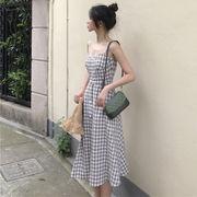 ファッション 若いもの アンティーク調 グリッド セクシー ドレス 夏 新しいデザイン