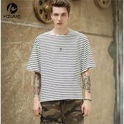 Tシャツ 新作 半袖 涼しい プリント ボーダー シンプル ジュニア カジュアル 夏