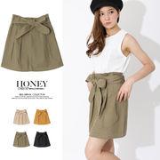 【春夏SALE】綿ツイルタックリボンスカート/ボトムス/ミニスカート/ロングスカート