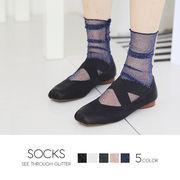 【即納】【小物】全5色!ロング丈シースルーラメソックス靴下 [lag0087]