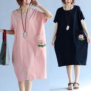 【春夏新作】ファッションワンピース♪アカ/ブラック2色展開◆