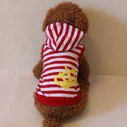 クラウンとボーダーのタンクトップ(レッド)(S~XL DM DL)ドッグウェア 犬の服【ルイスペット】