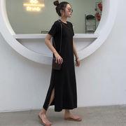 夏 女性服 新しいデザイン 韓国風 シンプル 単一色 中長スタイル シャツ スカート ス